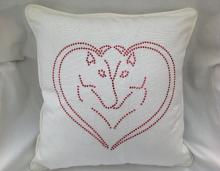 Bling Double Horse Head in Heart Cotton Cushion and Cover