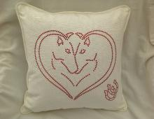 Bling Double Horse Head in Heart & Horseshoes Cotton Cushion and Cover
