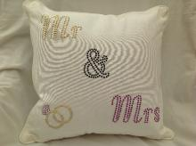 Bling Mr and Mrs Wedding Cushion