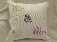Bling Mr and Mrs Wedding Cushion
